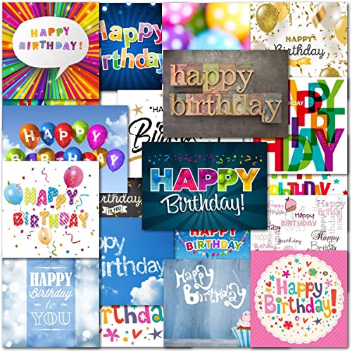 Pack Of 20 Mixed Happy Birthday Premium Greeting Cards