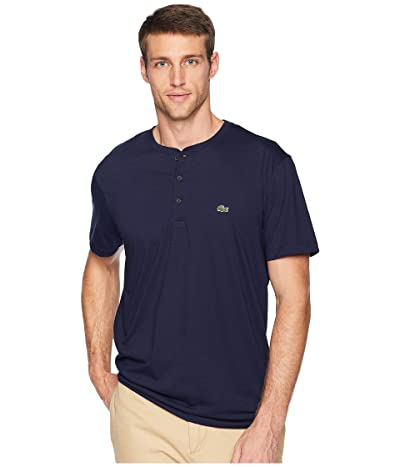 Lacoste Short Sleeve Regular Fit Pima Henley (Navy Blue) Men