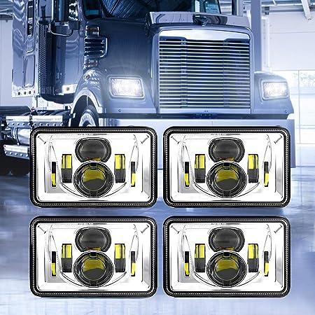 Black Z-OFFROAD 2pcs 60W 4x6 Led Headlights Dot Approved H4656 H4651 H4652 H4666 H6545 Sealed Beam Rectangular Headlamp for Freightliner Kenworth Peterbilt Oldsmobile Cutlass Trucks
