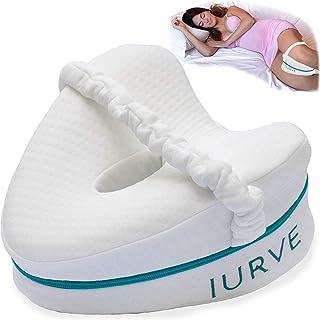 IURVE® Almohada para rodillas Dormir – Memory Foam. Dispositivo médico – Alivia el dolor de espalda y ciática – Cojín para dormir de lado también para mujeres embarazadas (blanco)