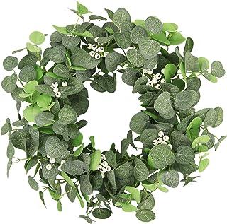 "Pauwer Artificial Green Leaves Wreath 18"" Greenery Eucalyptus Wreath Spring Summer Front Door Wreath Farmhouse Welcome Gre..."