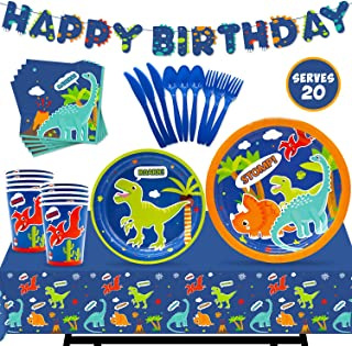 Dinosaur Party Tableware Supplies Set Serves 20 Guests-Happy Birthday Banner,Plates, Cups, Napkins,Table Cover, Blue Cutlery Kits-Kids Dino T-Rex Roar Boys Party Ideas Decoration