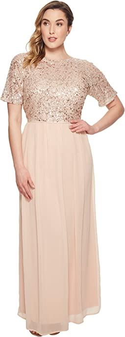 Plus Size Beaded Bodice Elbow Sleeve Gown