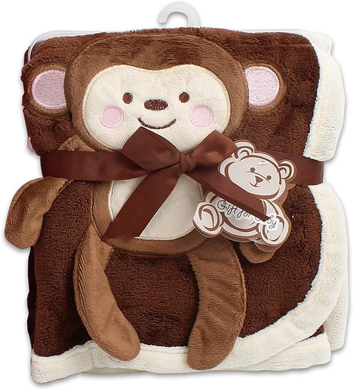 Baby Blanket W Monkey Design 30x40 Brown