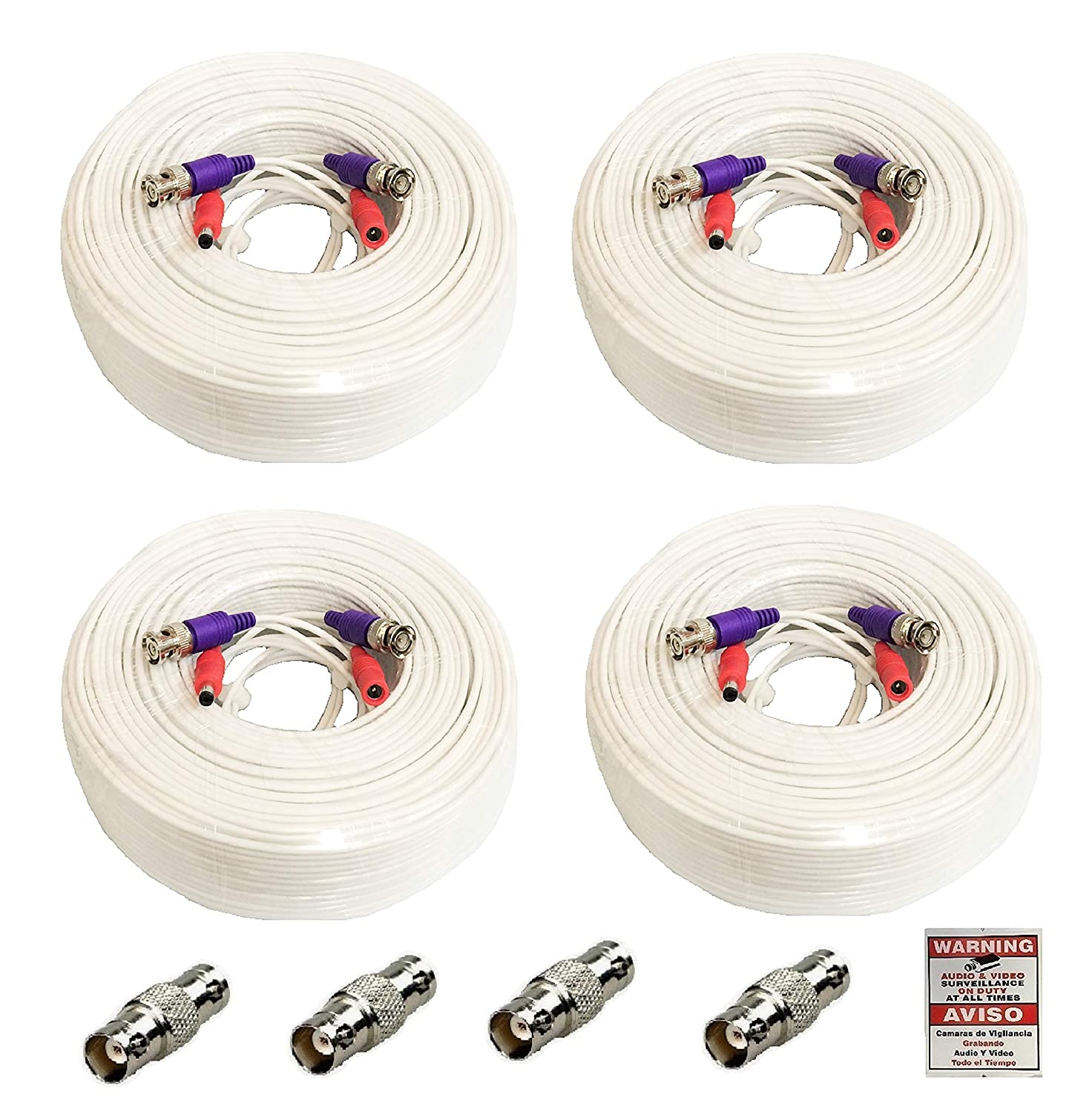 WennoW 4 Pack 165 Feet All-in-One Siamese 4K 8MP BNC Video & Power Extension Cable for All HD CCTV Security Cameras DVR System WT nejn276635049