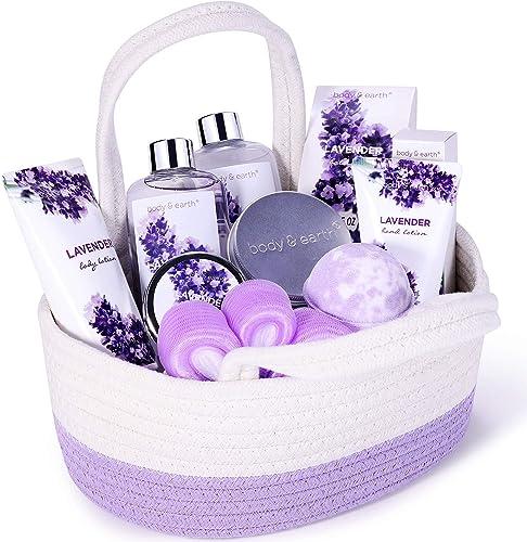 Coffret Cadeau pour Femme, Body&Earth 11 Pcs Coffret Bain au Parfum de Lavande avec Panier Décoratif, Parfait Cadeau ...