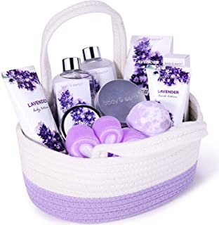 Bath Spa Gift Set, Gift Basket 11-Piece Lavender Scented Spa Basket Kits for Women, Contains Essential Oil, Shower Gel, Bubble Bath, Body Lotion, Bath Salt, Body Scrub, Best Gift for Her