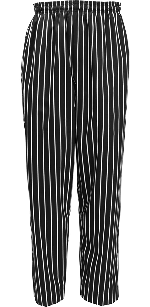 Fame Fabrics 81175 C15 Baggies Chef Pants, Black & White Chalk Stripe, MD
