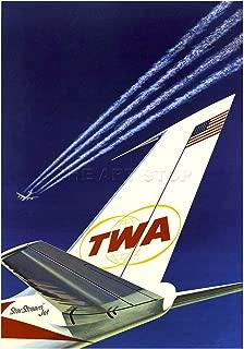 TWA Airline Stars Stripes Airplane Aeroplane Vintage Advert Art Print F12X1567