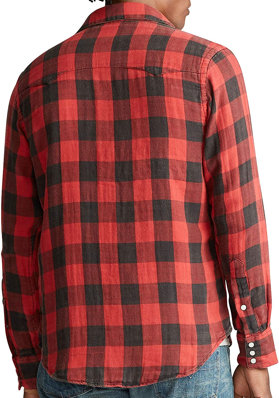 Polo Country Ralph Lauren Mens Plaid Sportsman Western Shirt (2X Big, Red)