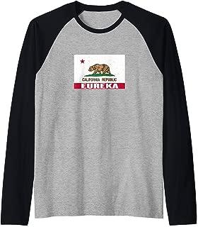 Eureka, California - Distressed CA Republic Flag Raglan Baseball Tee