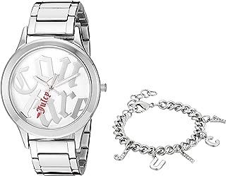 Women's Silver-Tone Watch with Swarovski Crystal Accented Charm Bracelet, JC/1147SVST