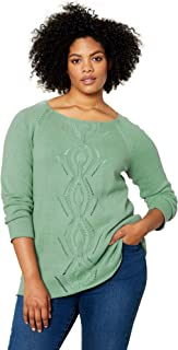 Women's Plus Size Ballet Neck Cable Front Sweater