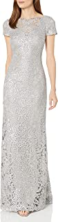Women's Short Sleeve Sequin Lace Gown