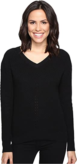 Alpine Knit V-Neck Cold Shoulder Sweater