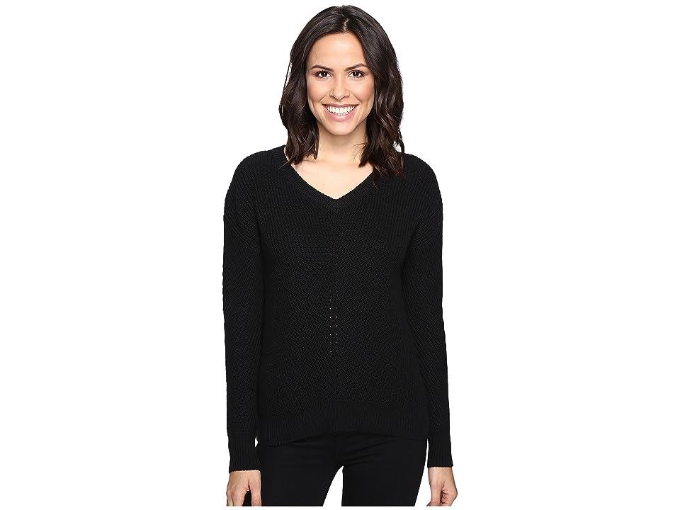 ee812cfb45490 Michael Stars Alpine Knit V-Neck Cold Shoulder Sweater (Black) Women