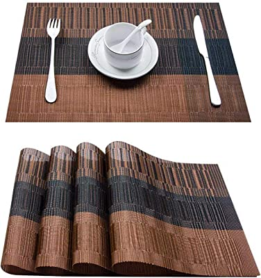 Top Finel Placemats for Dining Table,PVC Table Mats Set of 4,Place Mats Non-Slip Heat Resistant Washable,Brown&Black