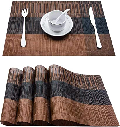 Top Finel Place mat Vinyl Woven Insulated Heat Resistant for Kitchen Table PVC,Brown&Black,Set of 8