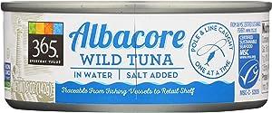 365 Everyday Value, Albacore Wild  Tuna in Water, Salt Added, 5 oz