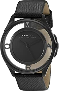 Marc by Marc Jacobs MBM1379 Round Leather Analog Watch for Women - Black