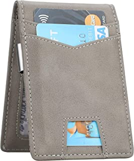 Slim Minimalist Front Pocket Wallet with Money Clip for Men, Genuine Leather RFID Blocking