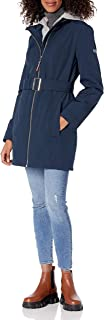 womens Belted Soft Shell Hooded Rain Jacket