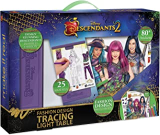 Make It Real - Disney Descendants 2 Fashion Design Tracing Light Table.  Kids Fashion Design Kit Includes Light Table, Disney Sketchbook, Stencils, Stickers, Design Guide and More