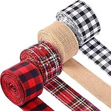 4 Rolls Wired Edge Ribbons 26 Yards x 2 Inches Buffalo Plaid Burlap Ribbon Christmas Wrapping Ribbon Red White Black Plaid...