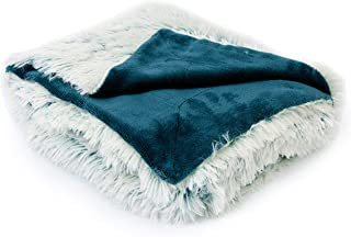 Cheer Collection Reversible Throw Blanket   Long Shaggy Hair Faux Fur Accent Throw - 50