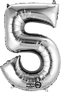 Amscan 21/ 53 x 34/ 86cm Number 5 Super Shape Foil Balloon, Silver