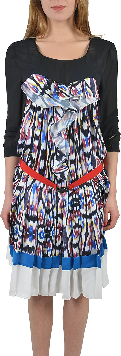 Just Cavalli Multicolor 3 4 Sleeves Women's Belted Shirt Dress US S IT 40