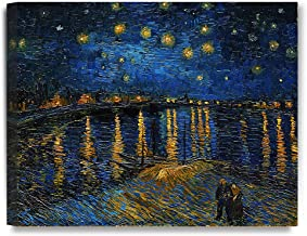 DECORARTS - Starry Night Over The Rhone, Vincent Van Gogh Art Reproduction. giclee Print Canvas Art for Wall Decor 20x16