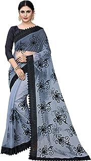 Hian Women's Machine Weave Net Saree With Unstitched Blouse Piece