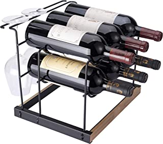 Tabletop Wood Wine Rack, Countertop Wine Holder Storage Stand for 6 Bottle Wine and 4 Glasses, Perfect for Home Decor, Ba...