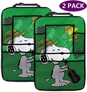 Backseat Car Organizer Kick Mats Snoopy Guitar Car Seat Back Protectors Vehicles Travel Accessories For Kids Toy Bottle Drink (2 Pack)