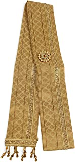 Aman Royal Dulha Collection Men's Ethnic Fabric Sherwani Stole Dupatta with Stone Lace Decoration (Cream and Golden; 2.5 m)