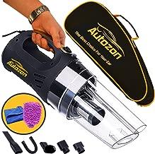Autozon KMT002 Black Cleaner High 12v DC 150W 4500PA Suction with LED Light Portable Handheld Auto Vacuum Wet Dry 14FT(5M) Power Cord. Free Bonus-Carrying Bag + Car Wash Mitt +Microfiber Towel