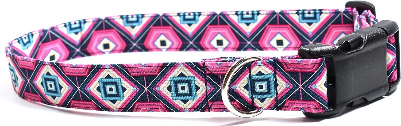 Ruff Roxy Geode Pink, Designer Cotton Dog Collar, Adjustable Handmade Fabric Collars (L)