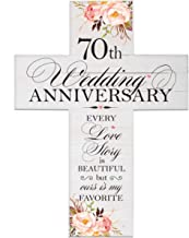 LifeSong Milestones Floral 70th Anniversary Pallet Cross 70 Years of Marriage - Seventy Year Wedding Keepsake Gift for Parents Husband Wife him her Boyfriend Girlfriend- 14x19