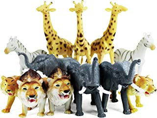 """Boley 12 Piece Jumbo Safari Animals - 9"""" Jungle Animals and Zoo Animals - Great Educational Toy for Kids, Toddlers, Children Or Party Favor!"""