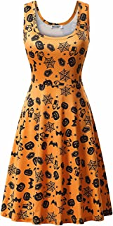 Womens Halloween Dresses Casual A-line Flared Party Costume Midi Dress
