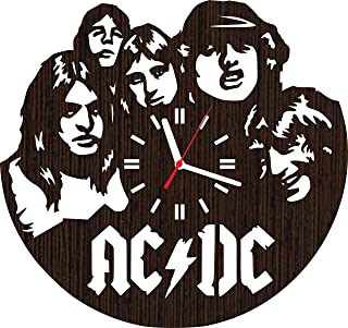 Wooden wall clock AC DC gifts for men women him her mom dad grandpa grandma home decorations art collectibles fans stuff merchandise accessories band rock and roll vinyl music poster decor acdc