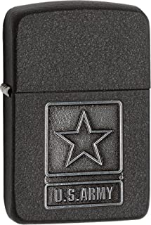 Personalized Message Engraved Customized US Army Black Crackle Emblem Zippo Indoor Outdoor Windproof Lighter