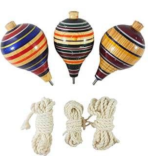 Jacq & Jürgen Wooden Trompos Spin Tops 3 Pack Multicolored Authentic Mexican with Metal Tips // Made in Mexico with A+ Quality Materials (Assorted Colors)