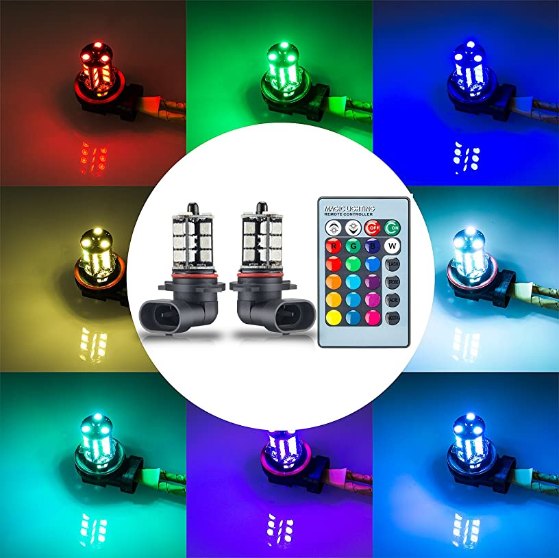 YIJINSHENG 2PCS 27SMD 12V multi-color RGB 5050 HB3 9005 LED Replacement fog lights reversing lights with Headlight Bulb remote Control (9005(HB3))
