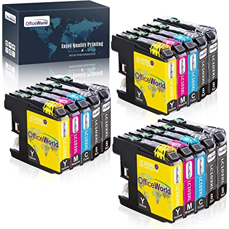 OfficeWorld Compatible Ink Cartridge Replacement for Brother LC103 LC101 LC103XL LC101XL LC103BK LC103C LC103M LC103Y (15 Packs) to use with Brother MFC-J870DW, MFC-J450DW, MFC-J6920DW, MFC-J470DW