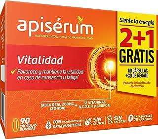 Apisérum Pack Vitalidad Cápsulas - 3 meses de tratamiento - Jalea Real con Vitamina C - Multivitamínico - Vitaminas A,C,D,...