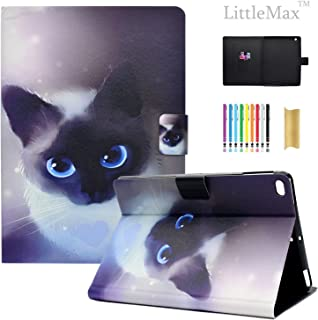 iPad 9.7 2018/2017 / Air/Air 2 Case, LittleMax Ultra Slim PU Leather Lightweight Case Folio Stand Auto Wake/Sleep Cover Compatible for Apple iPad 9.7 Inch 2018/2017, Air 1 2-1 Little Cat
