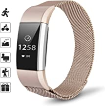 TOMALL Metal Bands Compatible for Fitbit Charge 2,Stainless Steel Metal Replacement Wristband for Women Men (Small, Champagne Gold)
