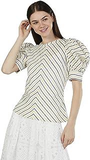 Iconic Women's 2091052 SS23MISTRPTO Woven Body Blouse, Yellow
